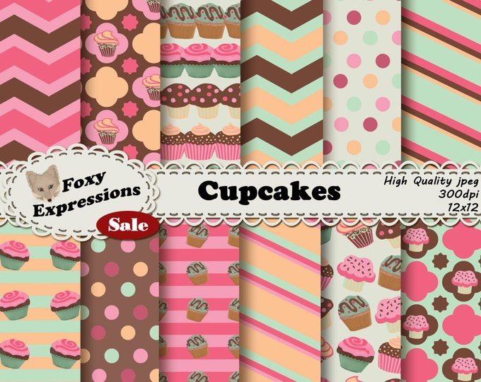 Cupcake digital paper comes in delicious colors of pinks, orange, green and brown. Designs include polka dots, chevron, stripes, & cupcakes!