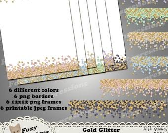 Gold Glitter Border and Frame digital pack comes png borders and frames for digital projects and jpeg frames for printing. Gold & 6 colors
