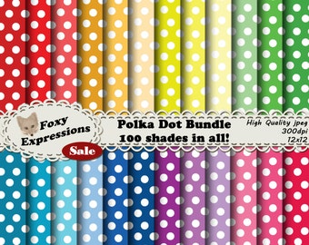 Polka Dot Bundle comes with 100 papers in many shades of red, orange, yellow, green, blue, purple & pink. You will be ready for any project.