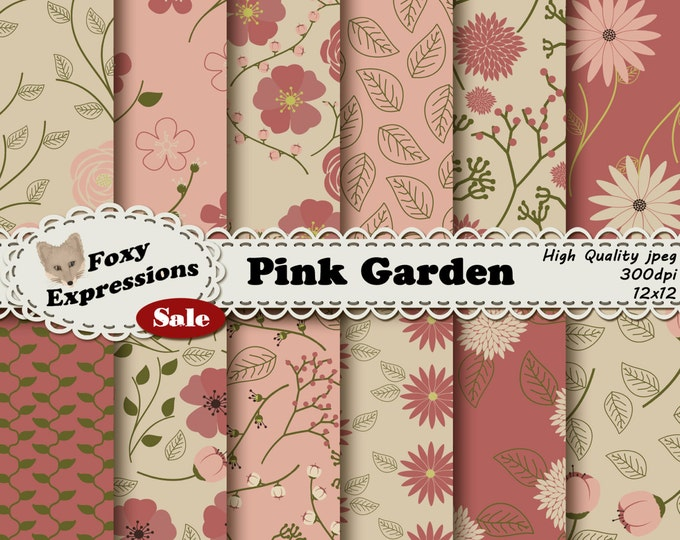 Pink Garden digital paper comes in shades of pink, green and cream. Designs include leaves, roses, daisies, poppies, stems with buds & more