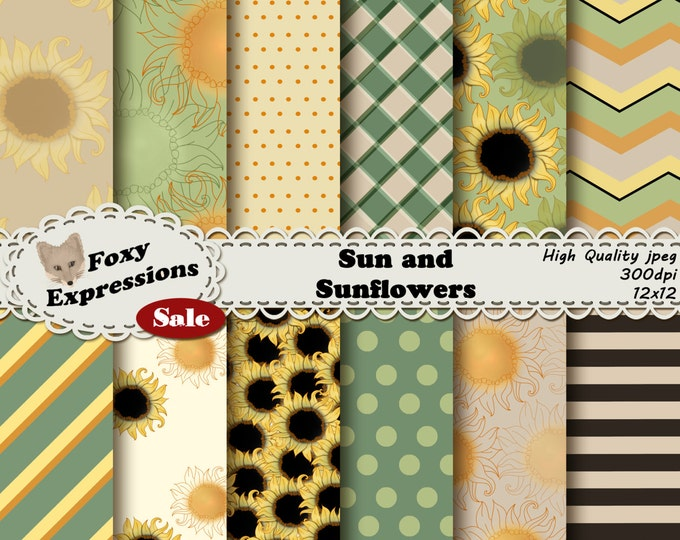 Sun and Sunflower digital paper comes in shades of green, yellow, black and cream. Perfect for spring & summer projects. Plus bonus clip art