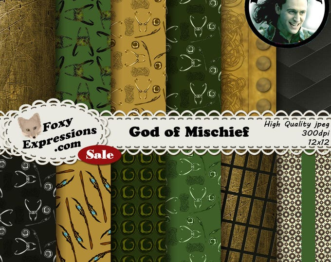 God of Mischief digital paper pack inspired by Loki. Designs include Helmet, Staff, Symbols, Patterns, Scarf, and other clothing designs.