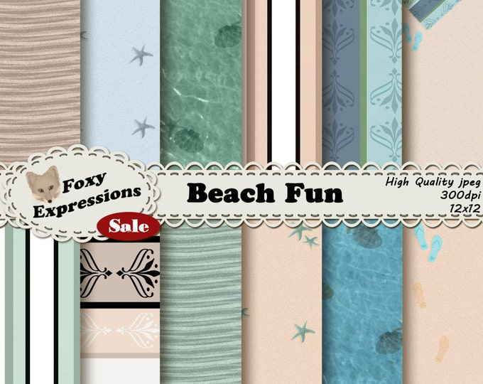 Beach Fun digital scrapbooking paper comes with beach towel, waves, shells, starfish, water, footprints and sand all in blue, green & cream