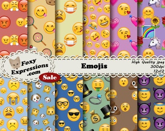 Emojis digital paper will add emotions to your crafts. Mad, Sick, Happy, Money, Poo, Pets, Love, Unicorns...you name it. Say it with Emojis.