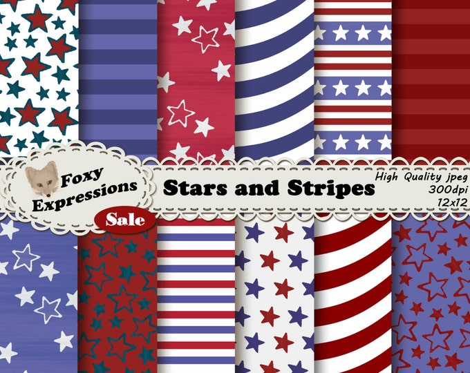 Stars and Stripes pack comes in shades of red, white and blue with fun stars designs, waves, and stripes for personal or commercial use.