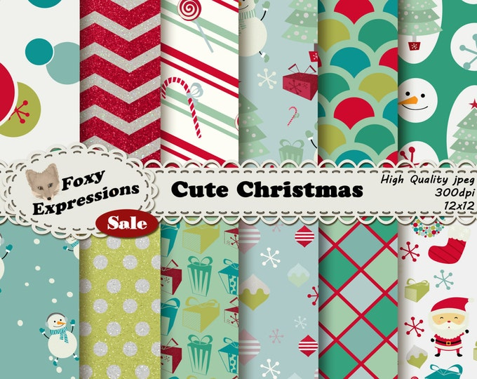 Cute Christmas digital paper pack comes in festive designs including Santa, snowman, tree, ornaments, snowflakes, gifts, wreath & candy cane