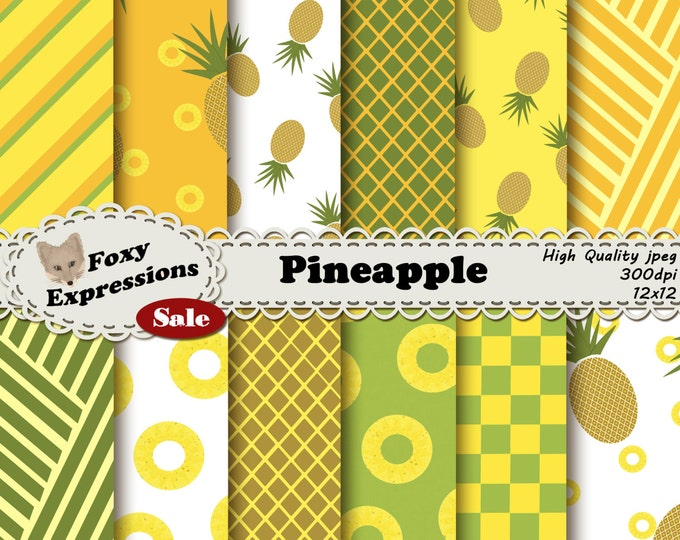 Pineapple delight digital paper comes with pineapples, slices, checkers, & stripes all in this fruits natural shades of orange, green, brown