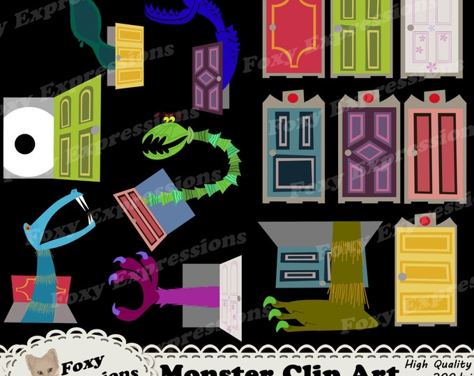 Monsters Clip Art is inspired by Monsters Inc. Pack comes with 14 pieces. 7 kid closet doors including Boos 7 kid closet doors with monsters