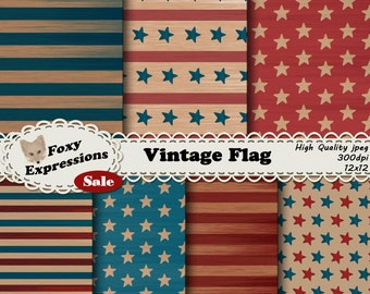 Vintage Flag Digital Paper in worn down reds, whites, and blues. Designs include faded stars and stripes. For personal or commercial use.