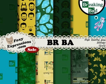 BR BA digital paper inspired by Breaking Bad. Designs include Walter White, Crystal, Bear missing eye, Smoke, Undies, Science, Camper & more