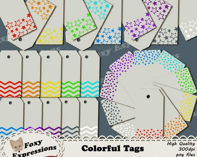Colorful Tags clipart pack comes in shades of red, orange, yellow, green, blue, purple, gray, white in designs of stars,polka dots & chevron