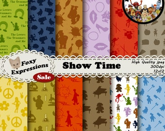 Show Time digital paper inspired by The Muppets Comes with Kermit, Ms Piggy, Gonzo, Fozzy Bear, Rowlf, Animal, Beaker, Professor Bunsen, etc