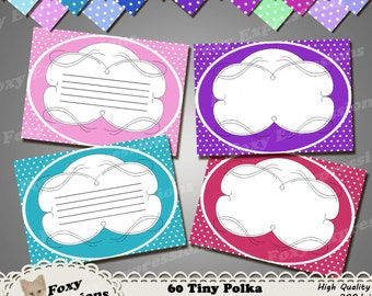 60 Tiny Polka Dot Labels for labeling, journaling, scrapbooking, recipes, and much more. Comes in 30 different colors, with & without lines