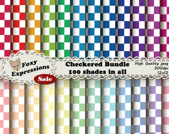 Checkered Bundle comes with 100 papers in many shades of red, orange, yellow, green, blue, purple, & pink. You will be ready for any project