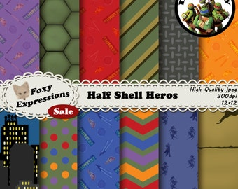Half Shell Heros digital paper is inspired by TMNT. Designs include turtle shell, sewer lid, city sky line, foot soldiers, pizza, & weapons