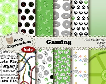 Gaming digital paper comes in xbox designs including controllers, cd, game case, tangled wires, headset, controller buttons, power sign, etc