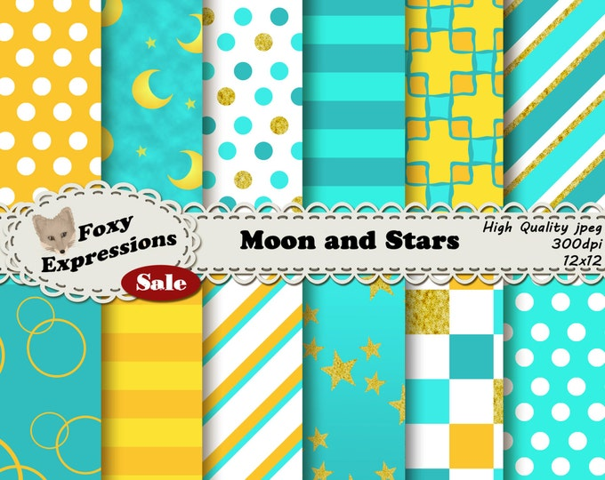 Aqua and Marigold, Moon and Stars in shades of blue, yellow and gold with checkers, stripes, stars, moons, polka dots, damask and bubbles