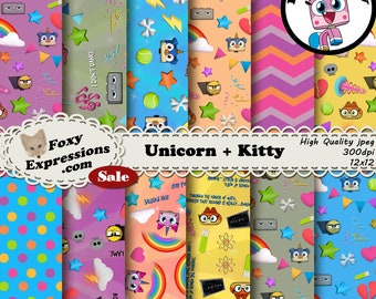 Unicorn plus Kitty is inspired by Unikitty. Designs include Unikitty, Puppycorn, Rick, Dr Fox, Master Frown, rainbows, stars, clouds, & more