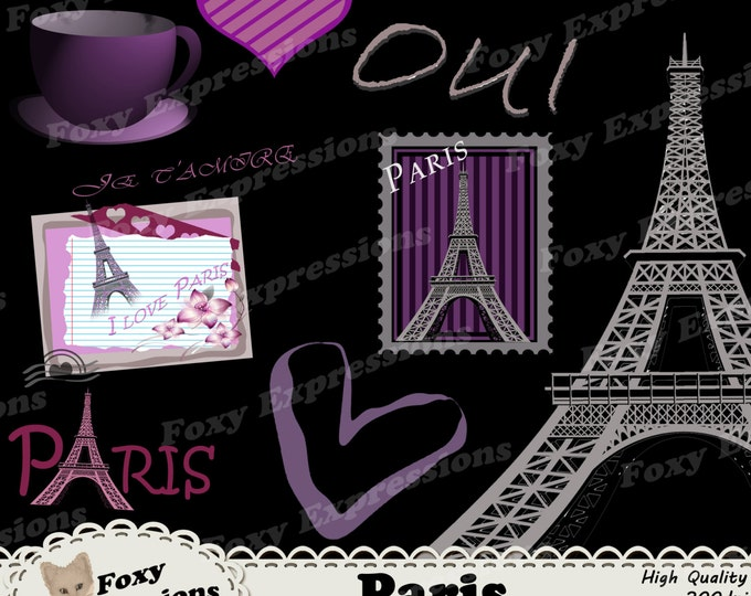Paris digital clip art comes with a very detailed effel tower, paris stamp, french words, tea cup, hearts and postcard in gray and purple