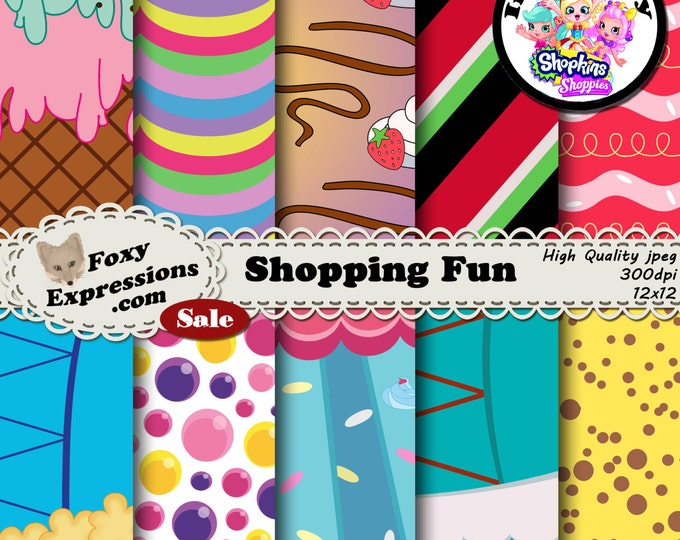 Shopping Fun inspired by Shopkins Shoppies. Includes Bubbleisha, Jessicake, Pam Cake, Pappa Mint, Popette, Rainbow Kate, Sara Sushi & more.
