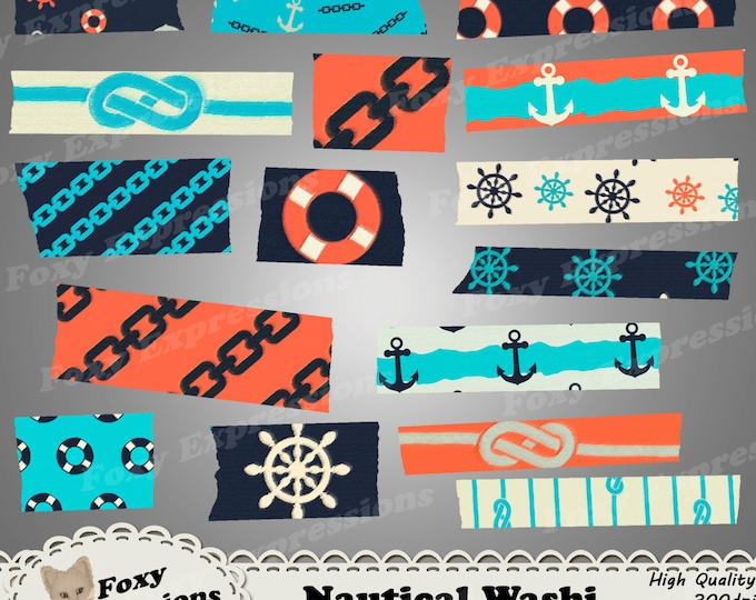 Nautical Digital Washi tape pack comes in fun anchors, wheels, knots, chains, and life saver patterns. In shades of blue, red & cream.