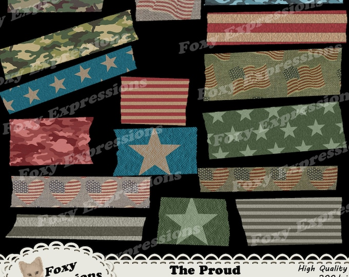 The Proud Washi Tape pack comes in shades of red, white, blue and green. Patterns include stars, stripes, flags, hearts, & camo on burlap