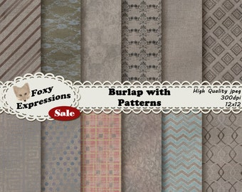 Burlap Seamless Patterns and Textures comes with unique designs that seamlessly tile together. Plaid, chevron, chains, damask, blue, & pink