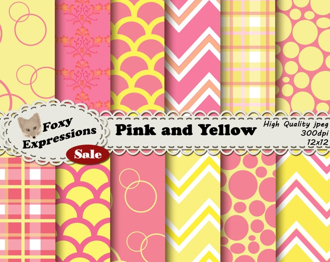 Pink and yellow digital scrapbook paper pack comes in chevron, scales, plaid, bubbles & damask designs in pretty shades of pink and yellow.