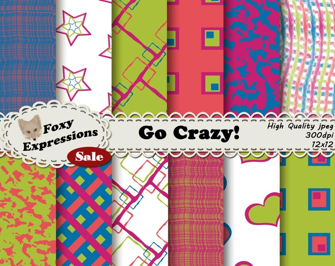 Go Crazy Scrapbooking Paper! This pack contains funky squares, doodles, stars, hearts, and ink blots in bright green, pink, blue and purple