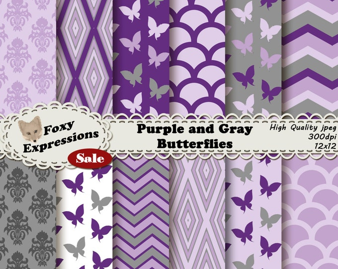 Purple and Gray Butterflies, 2 shades of gray and  purple, polka dots, waves, chevron, and butterflies for personal or commercial use.
