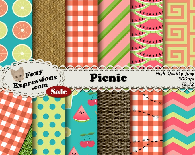 Picnic digital paper comes in colorful designs including picnic baskets and cloths with and w/o ants, watermelon, lemonade, cherries & more