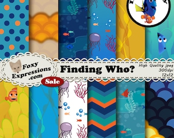 Finding Who is inspired by Finding Nemo and Dory. Designs include jelly fish, sea plant, bubbles, reef, fish, fish scales, clown fish & more