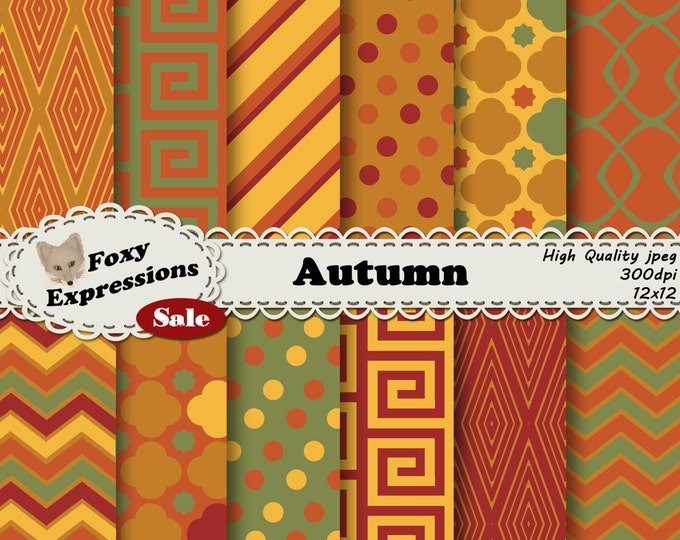 Autumn in shades of green, red, and yellow with waves, polka dots, stripes, diamonds, checkers, and chains for personal and commercial use