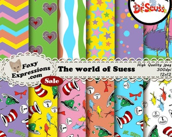 World of Seuss digital paper pack includes Cat in the Hat, 1 fish 2 fish, thing 1 & thing 2, green eggs, grinch heart, lorax trees and more