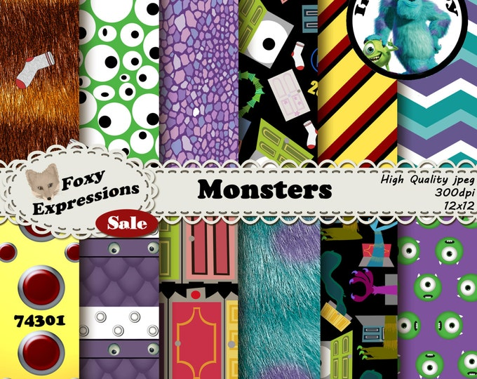 Monsters digital paper inspired by Monster Inc. Designs include Mike, Sully, Randall, code 23-19, Boo, Closet Doors, CDA, and more monsters!