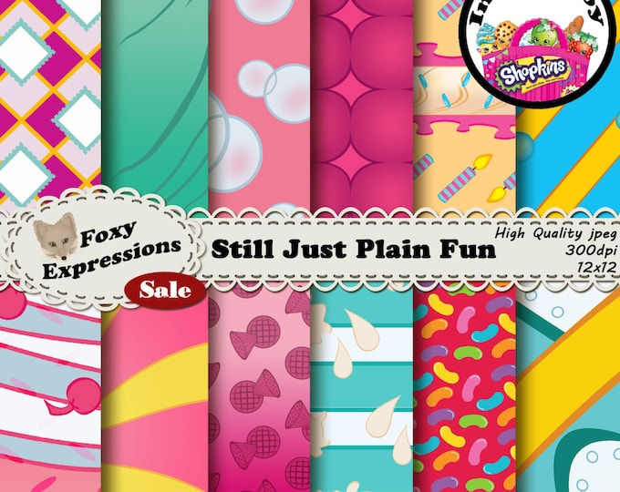 Just for fun digital paper is inspired by Shopkins. It features Gran Jam, Jelly B, Wishes, Minnie Mintie, Pretty Puff, Millie Shake & more