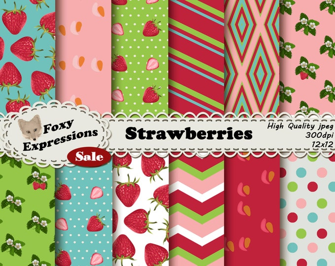 Strawberries digital paper pack comes in pink, green, and blue. Designs include strawberries, slices, flowers, stripes, chevron & polka dots