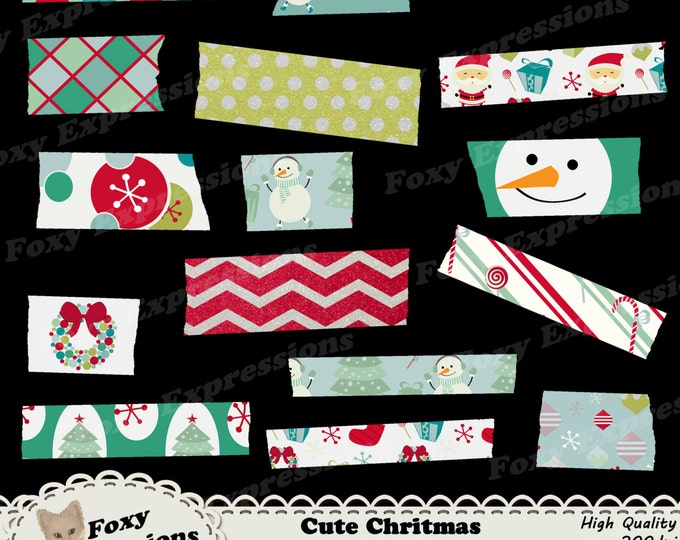 Cute Christmas digital washi pack comes in festive designs including Santa, snowman, tree, ornaments, snowflakes, gifts, wreath & candy cane