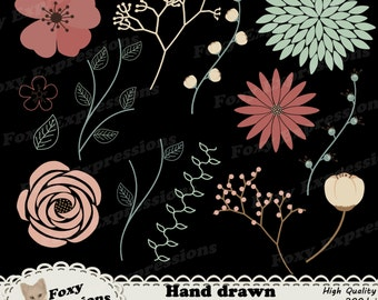Hand drawn flower clip art in beautiful shades on warm pinks and vibrant greens. Designs include flowers, stems, leaves, buds, vines & more