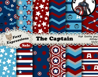 The Captain digital paper inspired by Captain America. Comes with stars, stripes, captains america shield, Avengers A, Agents of Shield logo