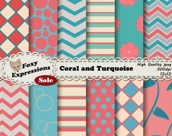 Coral and Turquoise Digital Paper in checkers, chevron, floral, stripes, polka dots, vine stripes and bubbles for personal or commercial use