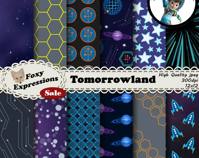 Tomorrowland digital paper pack inspired by Miles of Tomorrowland. Designs includes space, planets, light speed, stars, TTA, Rockets, & more