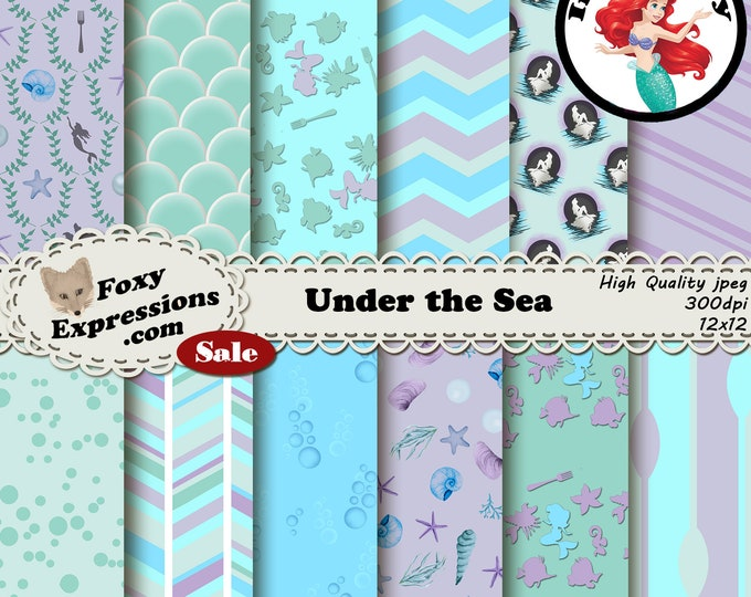 Under the Sea digital paper inspired by The Little Mermaid. Designs include Mermaid, Flounder, Bubbles, Sebastian, Scuttle, Seashells & more