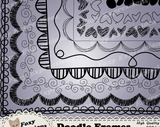 Doodle Frames digital clip art is a fun way to bring a hand drawn touch to your project by adding hearts, dots, zigzag, swirls, stripes, etc