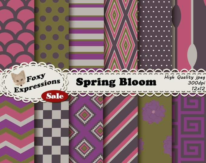 Spring Bloom Digital Paper Pack comes in stripes, polka dots, checkers, chevron, flowers, scales and spoons. Purple, pink,cream,gray & green