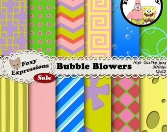 Bubble Blowers digital paper pack inspired by Nickelodeons Spongebob. Designs include sponge, patricks pants, jelly fish, bubbles and more.