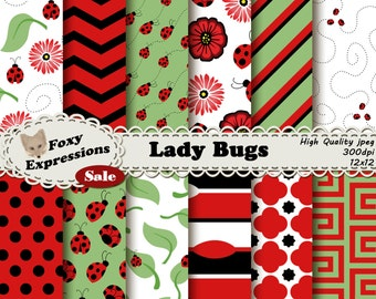 Lady Bug digital paper comes in Red, Black, White, and Green. Designs include Lady Bugs, Flowers, Leaves, Swirls, Chevron, Polka Dots & more