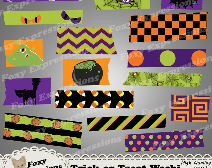 Trick or Treat Digital Washi Tape pack includes spooky designs including spiders in webs, ghosts, monsters, eyes, pumpkins, bat, cats & more