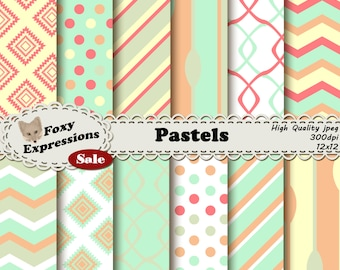 Pastels in shades of green,orange,yellow and red in damask, chevron, stripes, polka dots, chains, and spoons for personal and commercial use