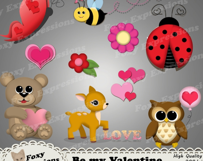 Be My Valentine Clip Art pack comes with adorable animals - deer, bear, and owl showing their love for v-day, love bugs, hearts & flowers.